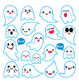cute ghosts icons halloween design set vector image vector image