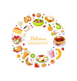 delicious breakfast banner template with fresh vector image vector image
