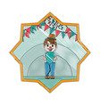 doodle funny clown boy with balloon and party vector image