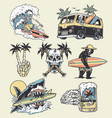 edgy surf and beach elements vector image vector image