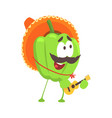 funny cartoon green pepper character wearing vector image