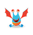 funny cartoon winged seated monster vector image