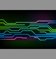 glowing neon circuit board lines on black vector image vector image