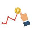 golden bitcoin and growing chart on the white vector image