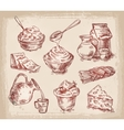 hand drawn sketch set of dairy products vector image vector image