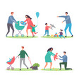 happy families with kids and dogs mothers and vector image