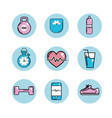 healthy lifestyle tools icons to practice exercise vector image vector image