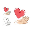 heart in hand logo or label health love life vector image vector image
