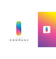 i logo letter with rainbow vibrant beautiful vector image vector image