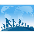 immigration people walk under world map background vector image