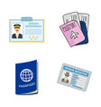 isolated object of passport and travel sign vector image