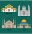israel hungary turkey and thailand travel icons vector image vector image
