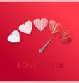love meter in speedometer design with paper cut vector image