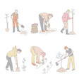 men planting trees and vegetables in ground at vector image vector image
