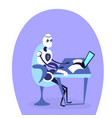 modern robot sitting office workplace using laptop vector image vector image