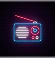 neon radio sign radio receiver vector image vector image