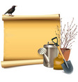 paper scroll with garden accessories vector image vector image
