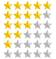 rating golden stars set vector image vector image