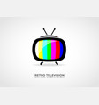 retro tv icon with colored strips vector image vector image