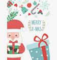 santa with gift boxes merry christmas card vector image