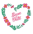 save date floral heart card vintage wedding vector image