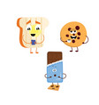 set of funny characters from toast biscuits vector image