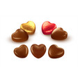 set realistic heart shaped chocolates wrapped vector image