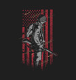 soldier with grunge american flag vec vector image vector image