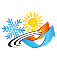 sun and snowflake arrows air conditioning symbol vector image vector image
