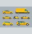 taxi cars collection of service yellow cab vector image vector image