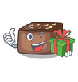 with gift homemade sweet cake with almonds and vector image