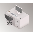 Computer desk workplace isometric 3d vector image