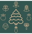 Abstract icons outline of the subjects trees vector image