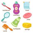 cartoon bathroom accessories vocabulary vector image