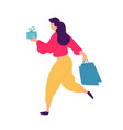 a girl with shopping positive flat in cartoon vector image vector image