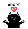 adopt me black cat face silhouette reds heart pet vector image vector image