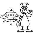 alien with ufo for coloring book vector image vector image