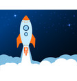blue rocket takes off into stars space in a cloud vector image vector image