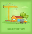 building process concept cottage cartoon style vector image vector image