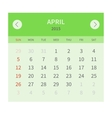 Calendar monthly april 2015 in flat design vector image vector image