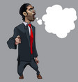 cartoon strongly indignant man in suit with empty vector image