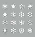 Christmas paper cut snowflake set icons