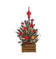 christmas tree decoration winter pine evergreen vector image