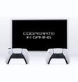 cooperative gaming concept with remote controller vector image