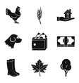 country economy icons set simple style vector image vector image