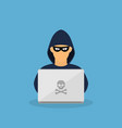 criminal hacker with laptop vector image