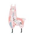 cute floral llama print perfect for t-shirt vector image