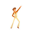 dancing man character male moving body at music vector image