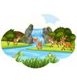 deer at the waterfall vector image vector image