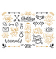 drawn wedding set laurels rings flowers vector image